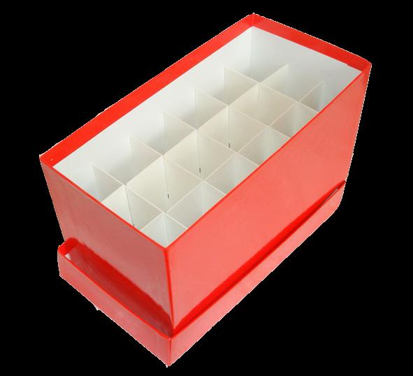 Papp-Lagerbox Typ C - für 50 ml Röhrchen (122x240x128 mm)