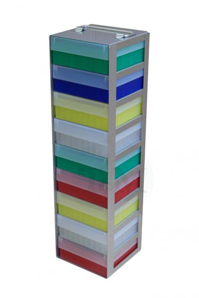 Edelstahl-Truhengestell TA5009 für 9 Boxen (5 cm, 136er)